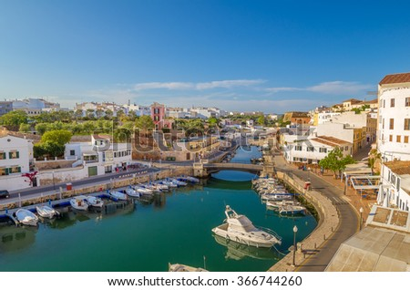 View on Canal des Horts at the old town of Ciutadella de Menorca, Spain. - stock photo