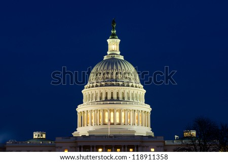 View on Capitol dome in Washington DC on dusk - stock photo