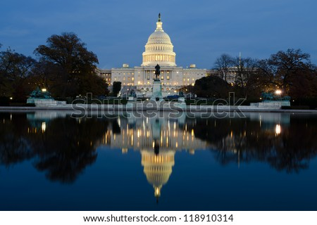 View on Capitol in Washington DC on dusk - stock photo