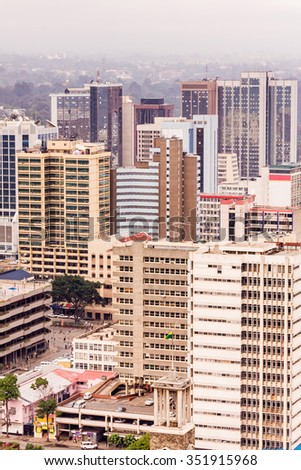 View on central business district of Nairobi from helipad on the roof of Kenyatta International Conference Centre (KICC). Kenya.   - stock photo
