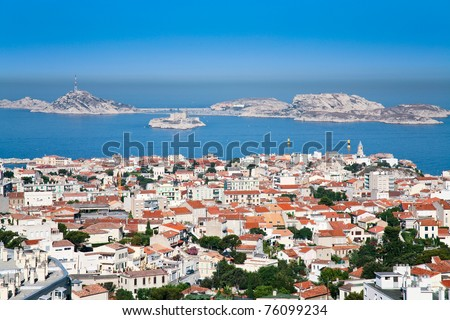 view on Chateau d'If near Marseilles, France - stock photo