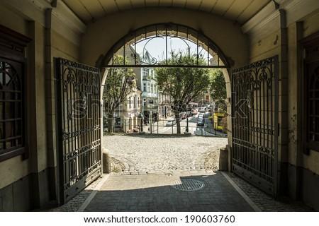 View on Cieszyn, Poland, from castle gates - stock photo