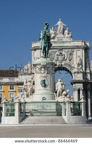 view on city Lisbon - stock photo