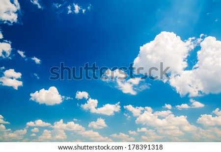 View on clouds in the blue sky background - stock photo