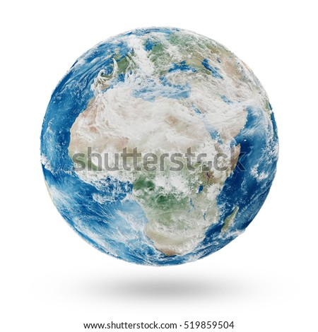 View on Cloudy Europe and Africa. Earth Planet Isolated on white background. Elements of this image furnished by NASA. 3D Rendering