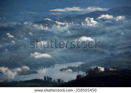 View on cloudy morning from Adam's peak - Sri Lanka - stock photo