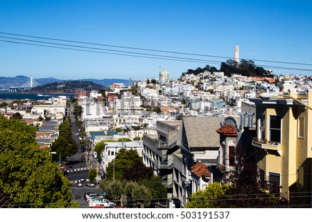 View on Coit Tower and Telegraph Hill in downtown San Francisco, California, USA.