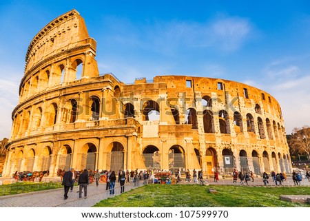 View on Coliseum in Rome, Italy - stock photo