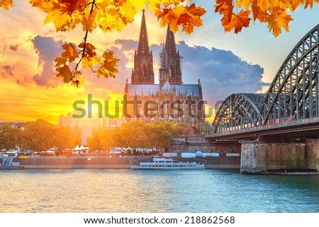 View on Cologne at sunset - stock photo
