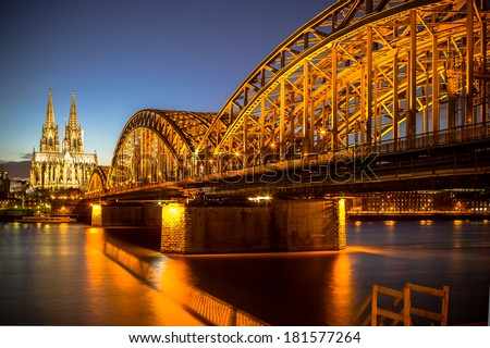 View on Cologne Cathedral and Hohenzollern Bridge, Germany