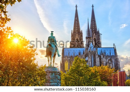 View on Cologne cathedral at sunset - stock photo