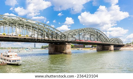 View on Cologne Hohenzollern Bridge over the Rhine river, Germany - stock photo