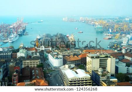 View on Colombo harbor from WTC Colombo. Sri Lanka - stock photo