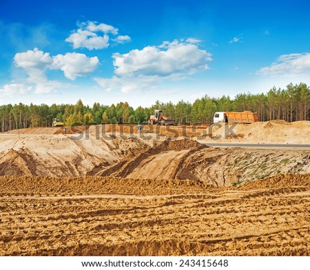 view on construction place - stock photo