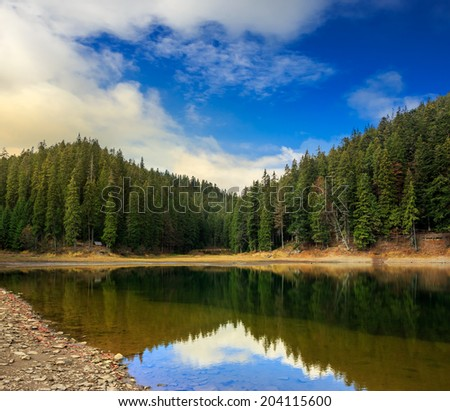 view on crystal clear lake with rocky shore near the pine forest at the foot of the  mountain at sunrise