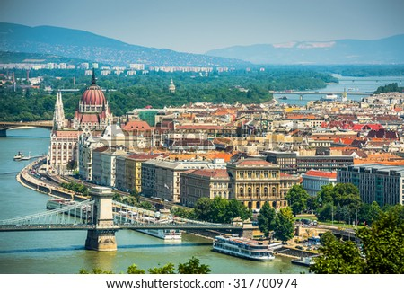 view on Danube and Budapest  in daytime - stock photo