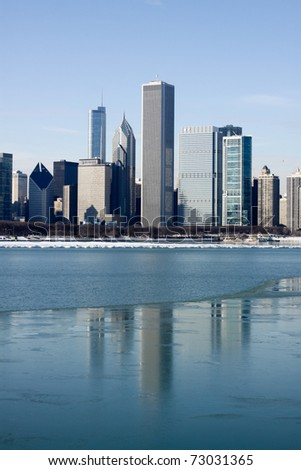 View on downtown Chicago (Winter) - stock photo