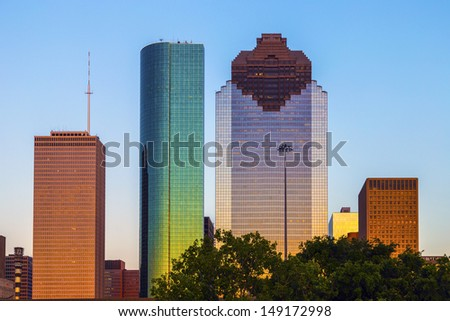 View on downtown Houston in late afternoon with skyscraper - stock photo