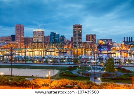 View on downtown of Baltimore at night - stock photo