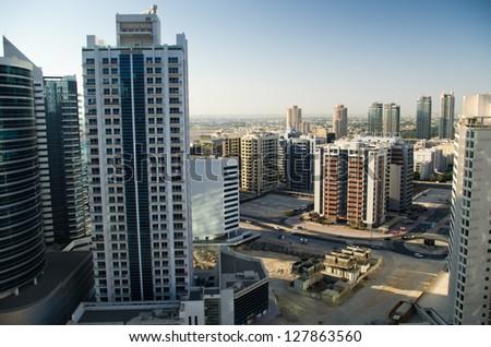 View on Dubai district Tecom from 21st floor - stock photo