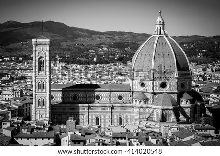 View on Duomo in Florence, Tuscany, Italy. - stock photo
