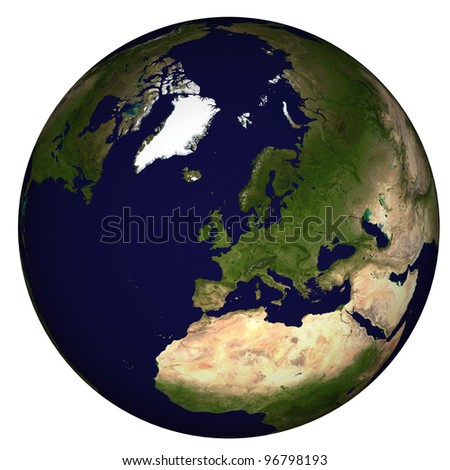 View on Earth, centered on UK and West Europe - stock photo