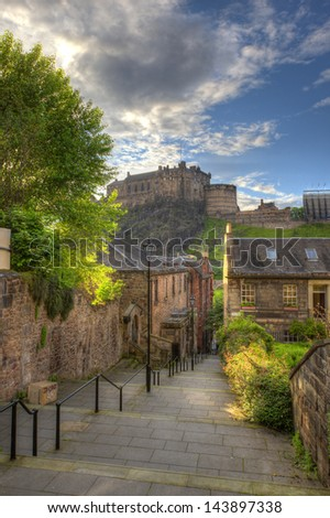 view on Edinburgh Castle from Heriot place, Edinburgh, Scotland, UK - stock photo