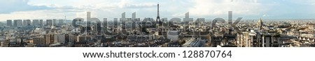View on Eiffel Tower and panorama of Paris - stock photo