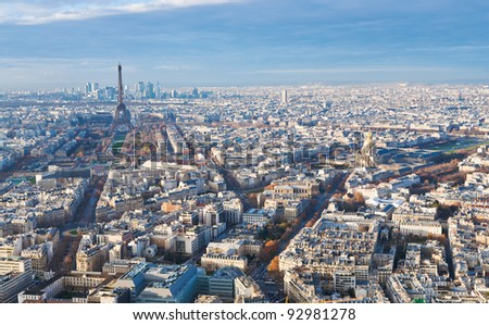 view on Eiffel Tower and panorama of Paris in winter afternoon