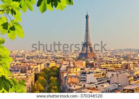 View on Eiffel tower at sunset, Paris, France - stock photo