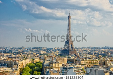 View on Eiffel Tower from Arc de Triomphe, Paris, France - stock photo