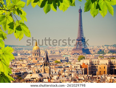 View on Eiffel Tower in Paris, France - stock photo