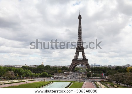 View on Eiffel Tower in Paris, France. Cloudy day - stock photo