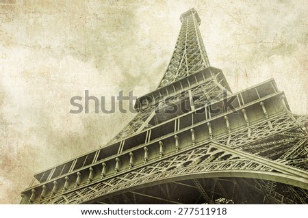 View on Eiffel Tower in Paris, Vintage image - stock photo