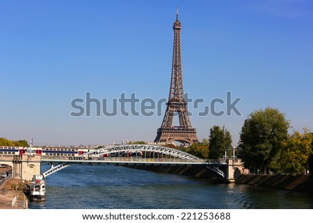 View on Eiffel Tower in the day, Paris, France - stock photo