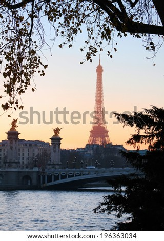 View on Eiffel Tower in the evening, Paris, France - stock photo
