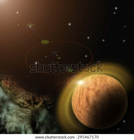 View on extrasolar planet, nebula and stars in deep space.
