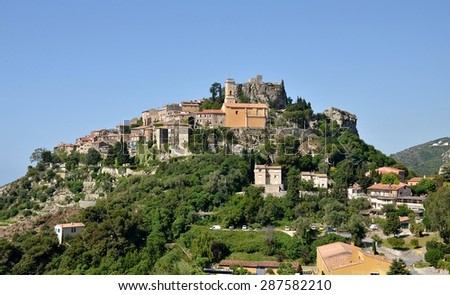 View on Eze village, French Riviera, France - stock photo