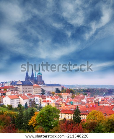 View on famous  Prague Castle and St. Vitus Cathedral. Autumn in the capital of Czech Republic. Stormy weather - stock photo