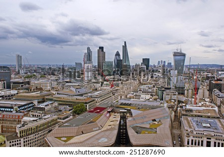 View on famous skyscrapers, London. - stock photo