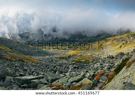 View on five lakes valley from Eagle's Path in Tatra Mountains, Poland
