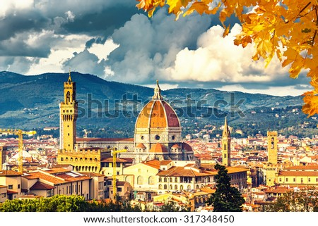 View on Florence and Duomo cathedral, Italy - stock photo