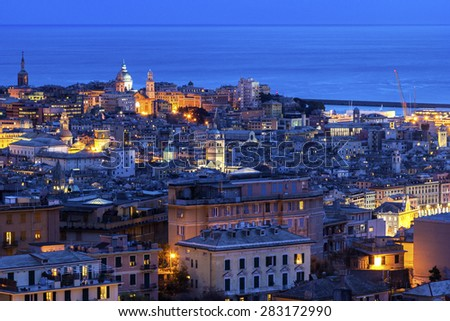 View on Genoa in Italy during an evening