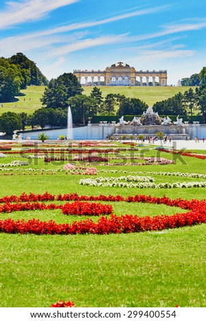 View on Gloriette structure and Neptune fountain in Schonbrunn Palace, Vienna, Austria - stock photo