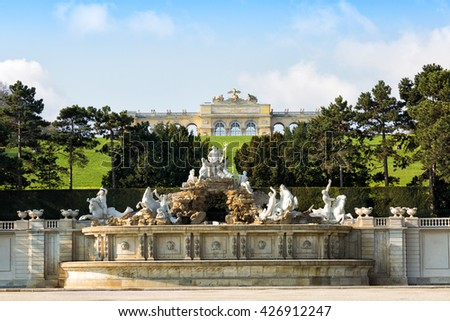View on Gloriette structure and Neptune fountain , Vienna, Austria
