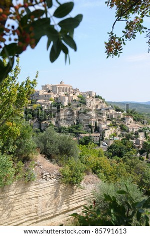 View on Gordes town in France, Vaucluse departement in Provence region, France