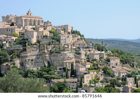 View on Gordes town in France, Vaucluse departement in Provence region, France - stock photo
