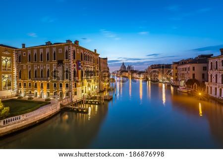 View on Grand Canal and Santa Maria della Salute Church from Accademia Bridge, Venice, Italy - stock photo