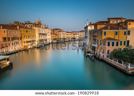 View on Grand Canal and Vaparetto Station from Accademia Bridge at Sunrise, Venice, Italy - stock photo