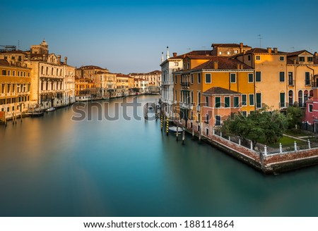 View on Grand Canal from Accademia Bridge at Sunrise, Venice, Italy - stock photo